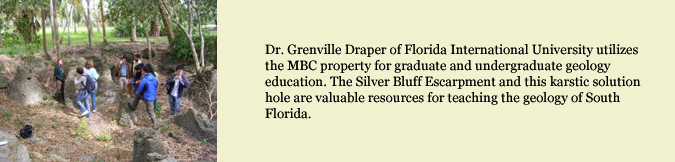 Dr. Grenville Draper of Florida International University utilizes the MBC property for graduate and undergraduate geology education. The Silver Bluff Escarpment and this karstic solution hole are valuable resources for teaching the geology of South Florida.