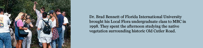 Dr. Brad Bennett of Florida International University brought his Local Flora undergraduate class to MBC in 1998. They spent the afternoon studying the native vegetation surrounding historic Old Cutler Road.