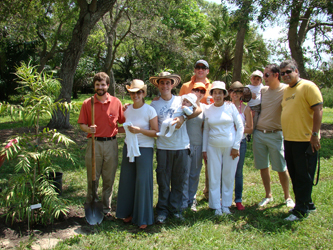 Paul Tessy and Genita Beatriz Cardona, along with six friends, planted Agathis moorei in honor of their son, Martin Joseph Tessy, at  Montgomery Botanical Center.