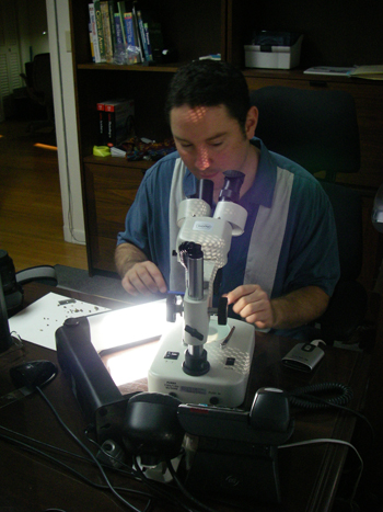 Photo of Dr. Michael Calonje using a microscope
