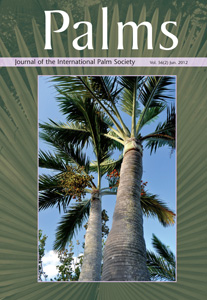 The cover of Palms: the Journal of the International Palm Society, January 2012