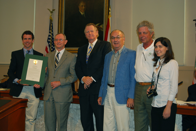 "Montgomery Botanical Center's 50th Year Anniversary in Coral Gables recognized by the Coral Gables City Commission. Left to right: Dr. Patrick Griffith, Charles P. Sacher, esq., ""Chip"" Wayne Withers, Karl Smiley, Lee Anderson, and Tracy Magellan."