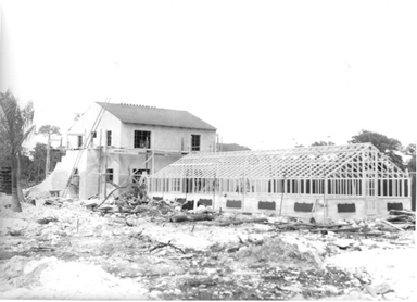 Photo of the construction of the Gatehouse and the Greenhouse