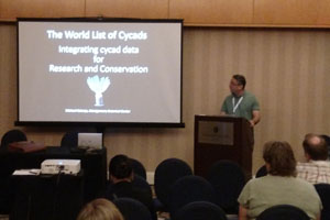 Photo of a lecture on the World List of Cycads